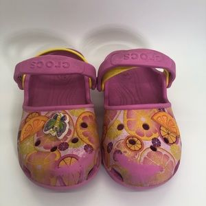 Girl's Pink Crocs in good used condition